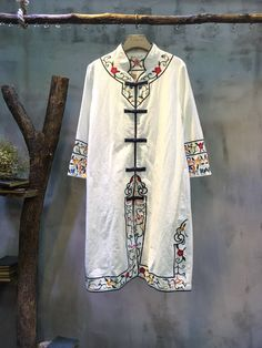 Stand Collar Folk Embroidery Chinese Cardigan Vintage Loose White Cheongsam  #cardigan #embroidery #folk #Chinese #pankou #vintage #retro #white