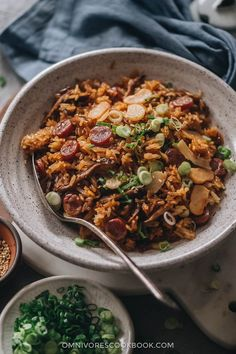 Chinese sausage rice made easy using the Instant Pot. No rice soaking required, minimal active cooking time, and perfect results. The rich and savory sticky rice is seasoned with soy sauce and mixed with sweet Chinese sausage and crunchy water chestnuts. It's a perfect one-pot weekday dinner!