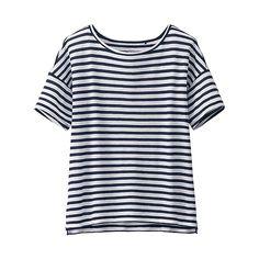 WOMEN Modal Linen Striped Short Sleeve T-UNIQLOUKOnlinefashionstore