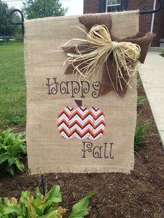Fall Burlap Garden Flag with chevron pumpkin or scarecrow design on Etsy, $18.00