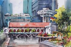 marvinchew.com | GALLERY  Clifford at Fullerton Bay, Singapore by Marvin Chew  #watercolor, #watercolour, #cityscape