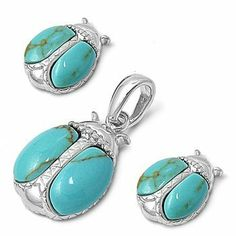 Sterling Silver Nature Ladybug Pendant and Earrings Jewelry Set with Turquoise Stones AMEX Jewelry. $63.99. Pendant Height: 14 mm. Earrings Height: 11 mm. High Polished Sterling Silver. Save 24%!