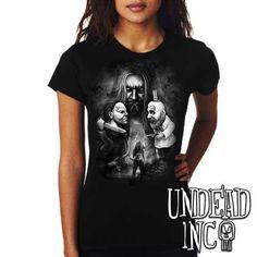 dea68cdf Rob Zombie Captain Spaulding Michael Myers Halloween Ladies t shirt BLACK  GREY #robzombie #houseof1000corpses