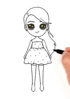 Kawaii Girl Drawings, Girl Drawing Sketches, Cute Cartoon Drawings, Cute Girl Drawing, Girly Drawings, Cartoon Girl Drawing, Kawaii Art, Cartoon Kids, Cute Christmas Wallpaper