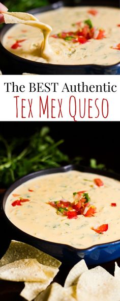 The only recipe you will ever need for authentic Tex Mex Chile Con Queso. The only recipe you will ever need for authentic Tex Mex Chile Con Queso. This takes me right back to my favorite re Appetizer Dips, Appetizer Recipes, Cheese Dip Recipes, Cheese Snacks, Cheese Cookies, Mexican Dishes, Mexican Food Recipes, Mexican Food Appetizers, Real Mexican Food