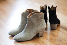 Another awesome pair of low heeled suede ankle boots.  These ones are the Isabel Marant Dicker boot.