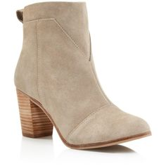 TOMS Lunata Suede Booties ($129) ❤ liked on Polyvore featuring shoes, boots, ankle booties, rubber sole boots, suede ankle booties, high heel platform boots, suede boots and platform booties