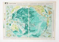 Large Pacific Ocean map, Vintage Map of the Pacific Ocean, travel souvenir, beach house decor, Australia map on Etsy, £12.50