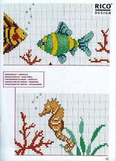 Edilse Embroidery: Fish charts on cross stitch ! Cross Stitch Sea, Cross Stitch Numbers, Cross Stitch Animals, Cross Stitch Flowers, Cross Stitch Charts, Cross Stitch Designs, Cross Stitch Embroidery, Embroidery Patterns, Cross Stitch Patterns