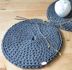 Crochet Round Placemats Set of 2, Graphite Gray Placemats, Handmade Placemats, Cotton Cord Placemats, Ecological Table Placemats, Coasters