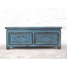 China Sitzbank Truhe Pinie azurblau shabby chic heavy used