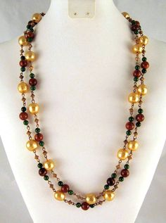 """Vintage Flapper Faux Baroque Pearls Art Glass Sautoir 53"""" now at GrapenutGlitzJewelry on Etsy"""