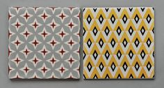 Geometric Carter tiles | Carter, working in Poole, were the driving force in tile design in the 1950's to 1970's in the UK, these are dated 1956(?) and 1966.