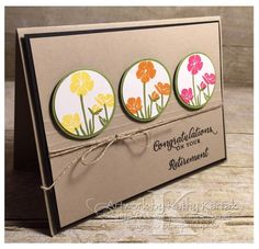 My card is based on a fabulous design by Dawn Olchefske. More details about the card and a link to Dawn's original card can be found on my blog: http://kkstamp.blogspot.com/2016/03/retirement-flowers.html