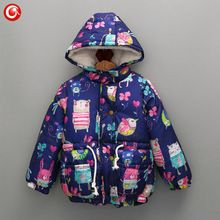 Winter Graffiti Down Coat For Kids Toddler Girls Baby Hoodies Snow Parka Outwear Clothes Children Christmas Warm Clothing 2016(China (Mainland))