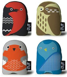 love the robin!  Stuf is a brand of artful plush dolls created by a team of talented artists and designers.The use of the high contrasting colors, geometric patterns and shapes make these dolls so cool and unique.
