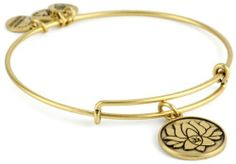 """Alex and Ani Bangle Bar """"Lotus Peace Petals"""" Russian-Gold Expandable Bracelet Alex and Ani. $28.00. Made out of recycled materials Made in USA. Adjusts to 3.25 inches in diameter. Russian gold. Alex and Ani patented expandable wire bangle concept allows the wearer to adjust the bangle for a perfect fit. Made out of recycled materials"""