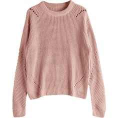 Crew Neck Loose Chunky Sweater Nude Pink (€21) ❤ liked on Polyvore featuring tops, sweaters, pink top, loose fit sweater, loose fitting sweaters, loose fitting tops and crew-neck sweaters