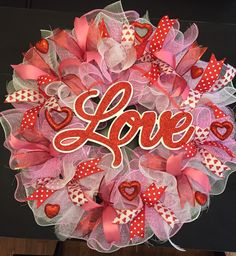 Valentines Day Wreath,  Valentine's Day Wreath, Love Wreath, Beautiful & Full Ruffled Deco Mesh Wreath by CreationsByRunco on Etsy