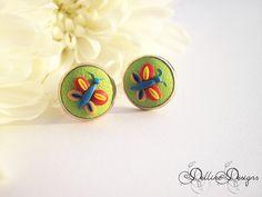 My Joyful Garden  Polymer Clay Stud Earrings by DellineDesigns