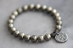 Pyrite Stretch Bracelet with Rustic Sterling by MossyCreekStudio