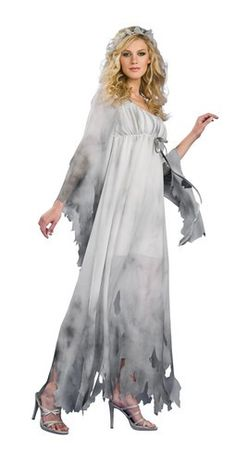 Great for a haunted house Graveyard Ghost, costume for Halloween and Zombie walks. This Graveyard Ghost nightgown costume will scare the dead! The Graveyard Ghost costume is a full length dress with an Ghost Bride Costume, Ghost Costumes, Adult Costumes, Costumes For Women, Devil Costume, Halloween Costumes For Sale, Adult Halloween, Halloween Ideas, Halloween Stuff