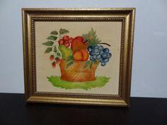 Vintage Fruit Basket Theorem Painting in by DaysLongGoneSalvage