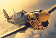 Curtiss P-40 Warhawk #WW2 #USAAF #HistoryInColor #NoseArt