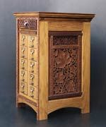 This woodworkers renovated card catalogs into beautiful furniture. -- Old Indian carved rosewood screens incorporated -- of course with my love of India, I love this one!