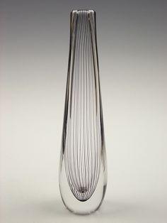 Kosta amethyst pinstripe glass vase by Vicke Lindstrand