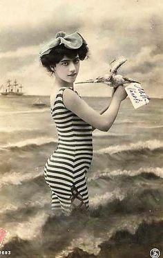 This is an old French postcard from my personal collection depicting a now unknown young beauty sporting a then trendy and fashionable swimsuit in a faux beach scene.    Between the 1800's and the 1920's, thousands of postcards depicting numerous women                   #French Women  Surefire way to Learn French! http://vzturl.com/hc15