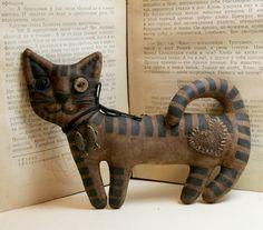 Primitive Folk Art Cat little brown Cat textile by Alinabears