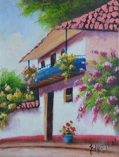 Cuadros Modernos Pinturas : Paisajes Fáciles de Pintar al Óleo Mexican Artwork, Mexican Paintings, Open Gallery, Art Gallery, Barn Art, Drawing For Beginners, Pink Houses, Landscape Art, Painting On Wood