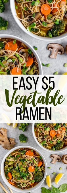 An easy to make Vegetable Ramen that is healthy, oil-free, and will cost less than $4! #budgetfriendly #vegan #meal #ramen #oilfree #lowfat #healthy #newyear #vegetableramen #cheap #lazymeal