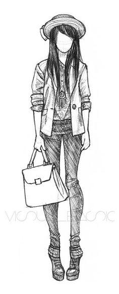 Moda Amazing Drawings, Cute Drawings, Drawing Sketches, Croquis Fashion, Fashion Sketches, Fashion Drawings, Illustration Mode, Estilo Anime, Girl Sketch