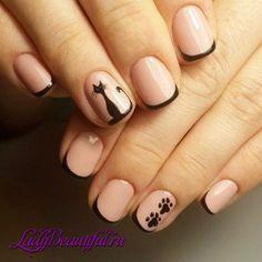French coat for short nails and a pattern of cats Cat Nail Art, Cat Nails, Trendy Nail Art, Stylish Nails, Nail Manicure, Nail Polish, Punk Nails, Nail Design Spring, Nagellack Design