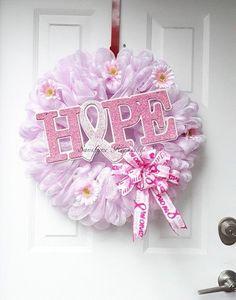 Cancer Awareness Deco Mesh Wreath (Handmade) - Cancer Awareness, Pink Ribbon Wreath Home Decor - Rea Breast Cancer Party, Breast Cancer Wreath, Awareness Ribbons, Cancer Awareness, White Xmas Tree, Mesh Ribbon Wreaths, Fall Deco Mesh, Mothers Day Wreath, Summer Door Wreaths