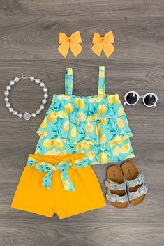 Mint Lemon Short Set