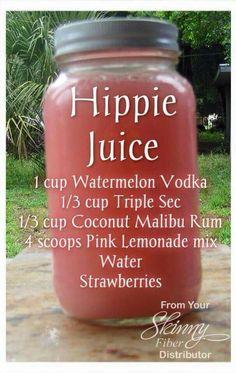 Hippie Juice - 1 cup watermelon vodka, 1/3 cup  Triple Sec, 1/3 cup coconut Malibu Rum, 4 scoops pink lemonade mix, water, strawberries