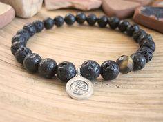 Mens Yoga Bracelet - Matte Black Lava Stone Bracelet, Faceted Tiger Eye and Thai Silver Om Charm, Spiritual Beads for Men