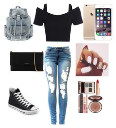 """School"" by deborahoyetunde ❤ liked on Polyvore featuring Converse, Lanvin and Charlotte Tilbury"
