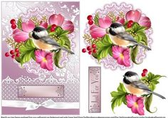 Bird Amongst The Flowers Doily Card on Craftsuprint designed by June Harrop - This sheet is quick and easy to make and creates a lovely card.You can decorate with your own embellishments,glitters,gems etc. - Now available for download!