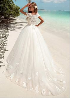 Fabulous Lace & Tulle Bateau Neckline Ball Gown Wedding Dress With Lace Appliques & Sequins