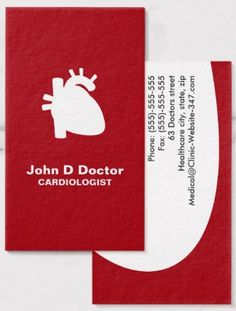 Modern cardiologist cardiology heart business cards A modern and contemporary doctor business card featuring a human heart as a white silhouette against a red background. Customizable text areas for name, specialty or clinic name and other contact information on the back. Minimalist physician business card for cardiologists, cardiac surgeons and anyone working with the human heart.