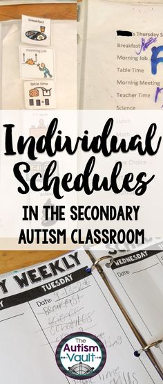 Individual schedules are paramount for success in the autism classroom.  They help our students learn to transition, manage themselves, and take the anxiety out of the school day.  See how I use individual schedules for readers and non-readers alike in my secondary autism classroom.  Plus, grab a weekly schedule freebie!