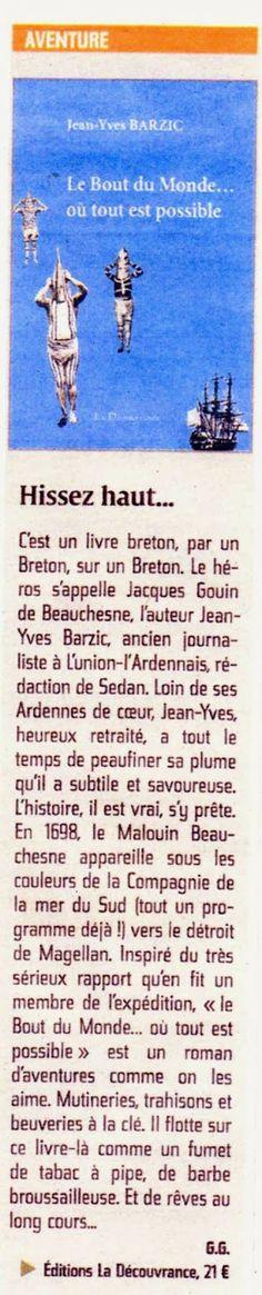 """La Découvrance éditions: L'Union """"Hissez haut"""" pour le livre """"Le Bout du Monde... où tout est possible"""" de Jean-Yves Barzic."""