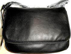 MARGOT Preston CROSSBODY *NEW* Black Pebbled Genuine Leather Zip Fold Over NWT #Margot #Crossbody