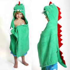 Devin the Dinosaur has arrived to join the party here at Zoocchini! Who could resist that face! Constructed with a three-dimensional head, tail and super soft red spikes down his back. Hand grabs, teeth and claws finish his powerfully cute look! #Zoocchini #HoodedTowels #SummerCamp #KidsHoodedTowels #Beach #Pool #BathTime