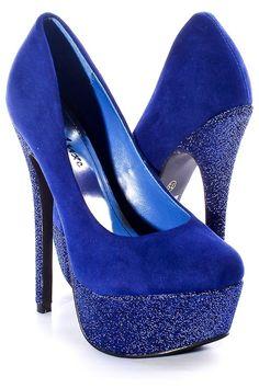 Blue Suede Glitter Platform Heels