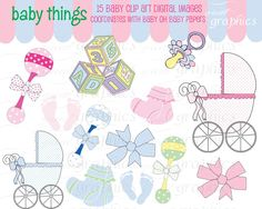 Baby Digital Clip Art Digital Baby Clipart Baby Footprint Baby Rattle Baby Carriage Clipart Printable - Instant Download de GreatGraphics en Etsy